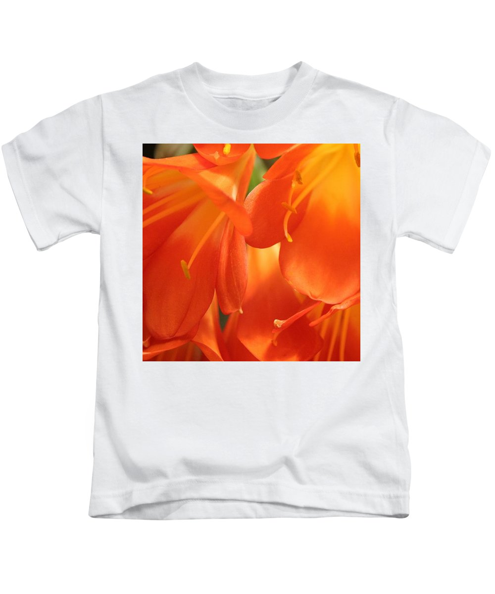 Floral Kids T-Shirt featuring the photograph Orange Flower Petals by Cyril Brass