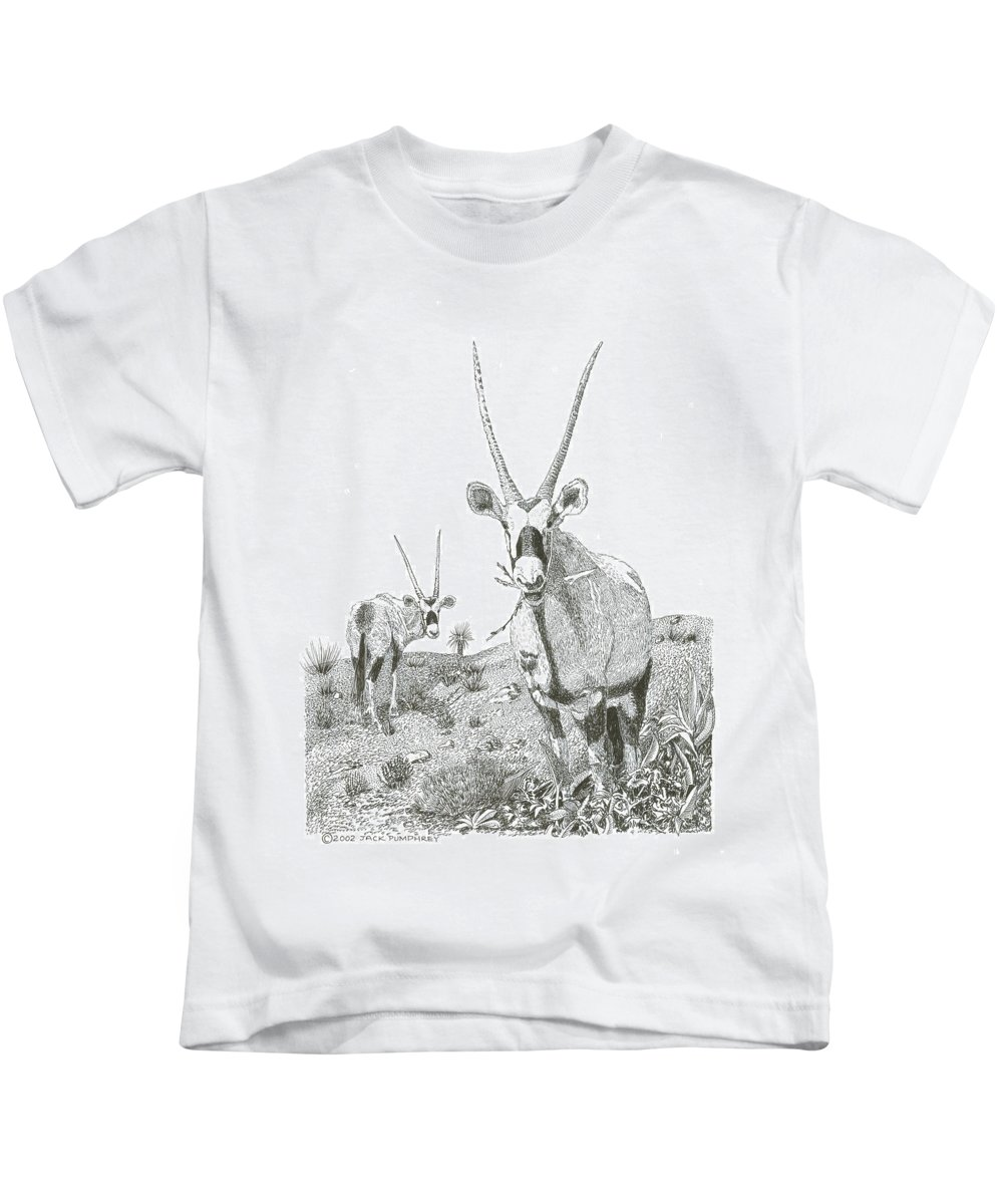 Images Of White Sands Orax Framed Art Of Wild Animals. Framed Pen And Ink Art Of Oryx Kids T-Shirt featuring the drawing White Sands Orax by Jack Pumphrey