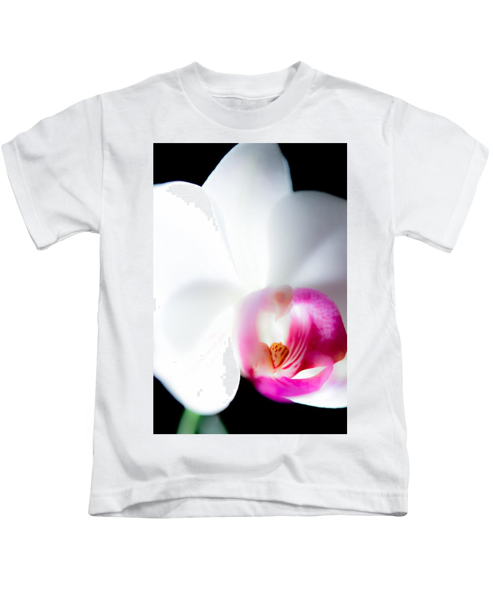 Orchid Kids T-Shirt featuring the photograph Orchid On Black by Jacquelyn Crady