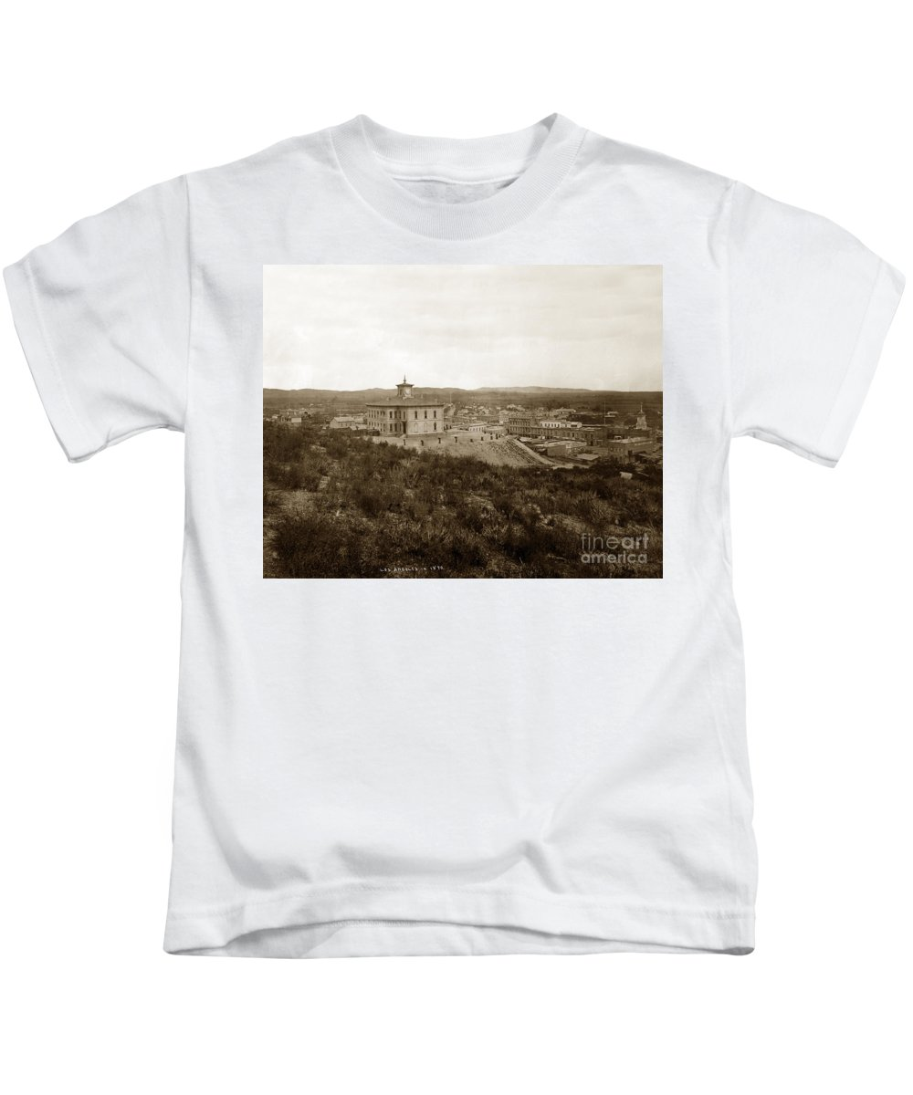 Pound Cake Hill Kids T-Shirt featuring the photograph Original High School Pound Cake Hill Los Angeles California Circa 1873 by California Views Archives Mr Pat Hathaway Archives