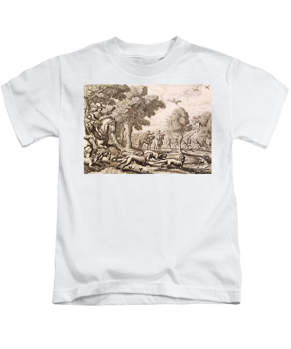 Hunt Kids T-Shirt featuring the painting Otter Hunting By A River, Engraved by Francis Barlow