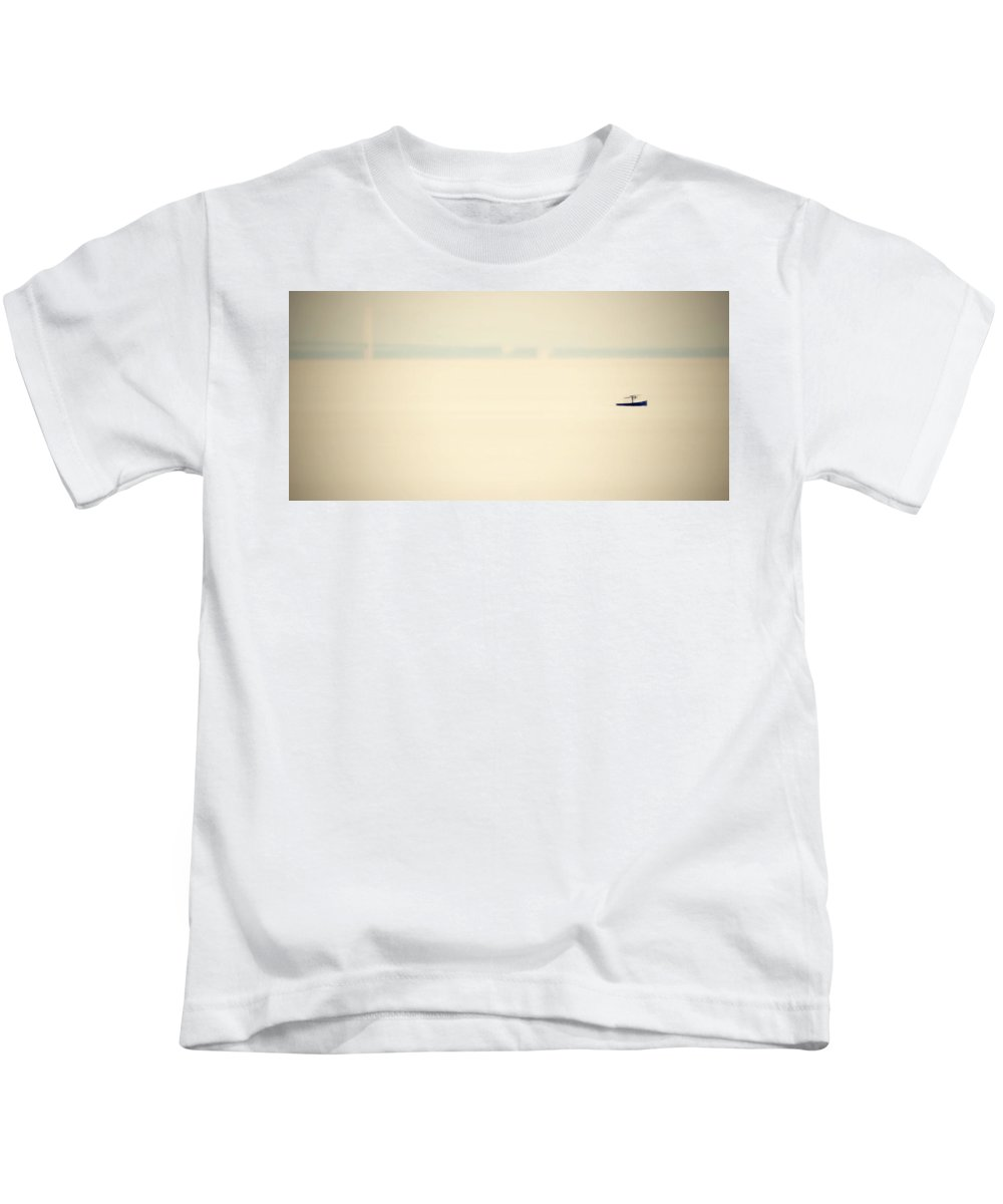 Straits Of Mackinac Kids T-Shirt featuring the photograph Out Of The Fog by Marysue Ryan