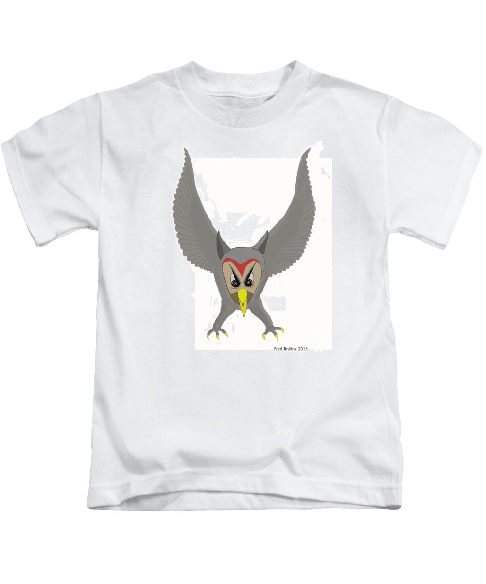 Bird Kids T-Shirt featuring the painting Owl Attacking by Fred Jinkins