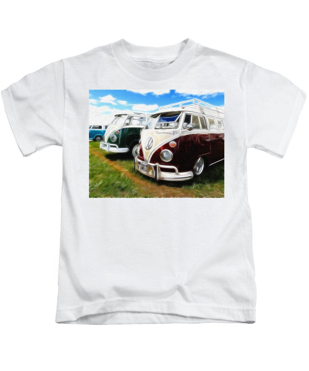 Vw Kids T-Shirt featuring the photograph Pair Of Busses by Steve McKinzie