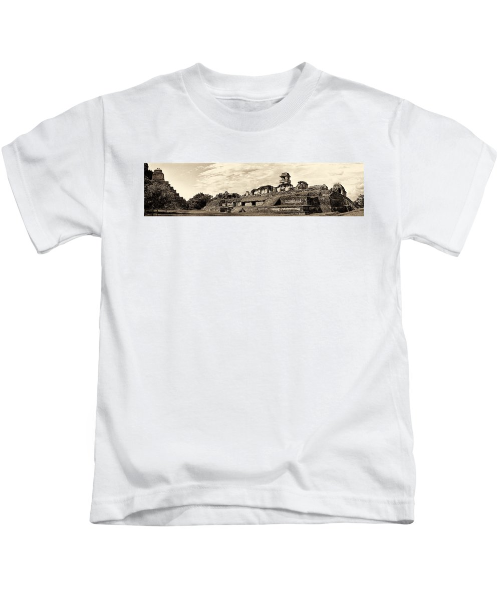 Palenque Kids T-Shirt featuring the photograph Palenque Panorama Sepia by Weston Westmoreland