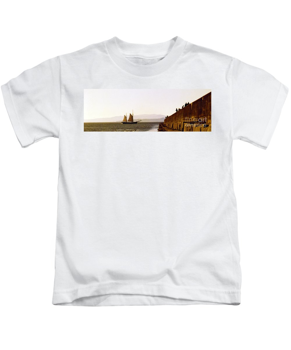 Pugent Sound Kids T-Shirt featuring the photograph Panoramic Puget Sound Schooner 2 Washington by Mike Nellums