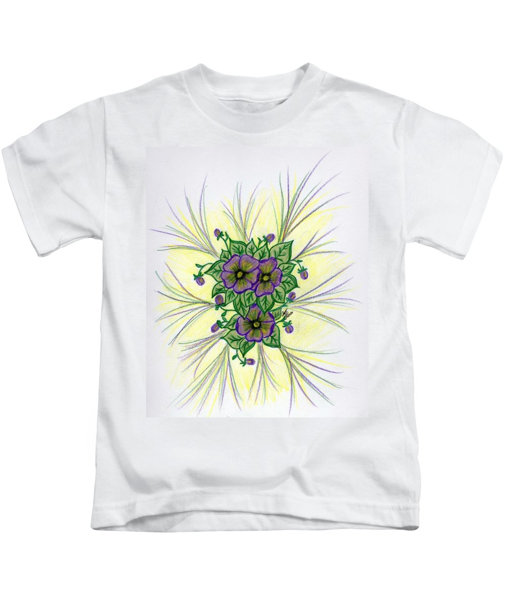 Pansy Kids T-Shirt featuring the drawing Pansies by Susan Turner Soulis