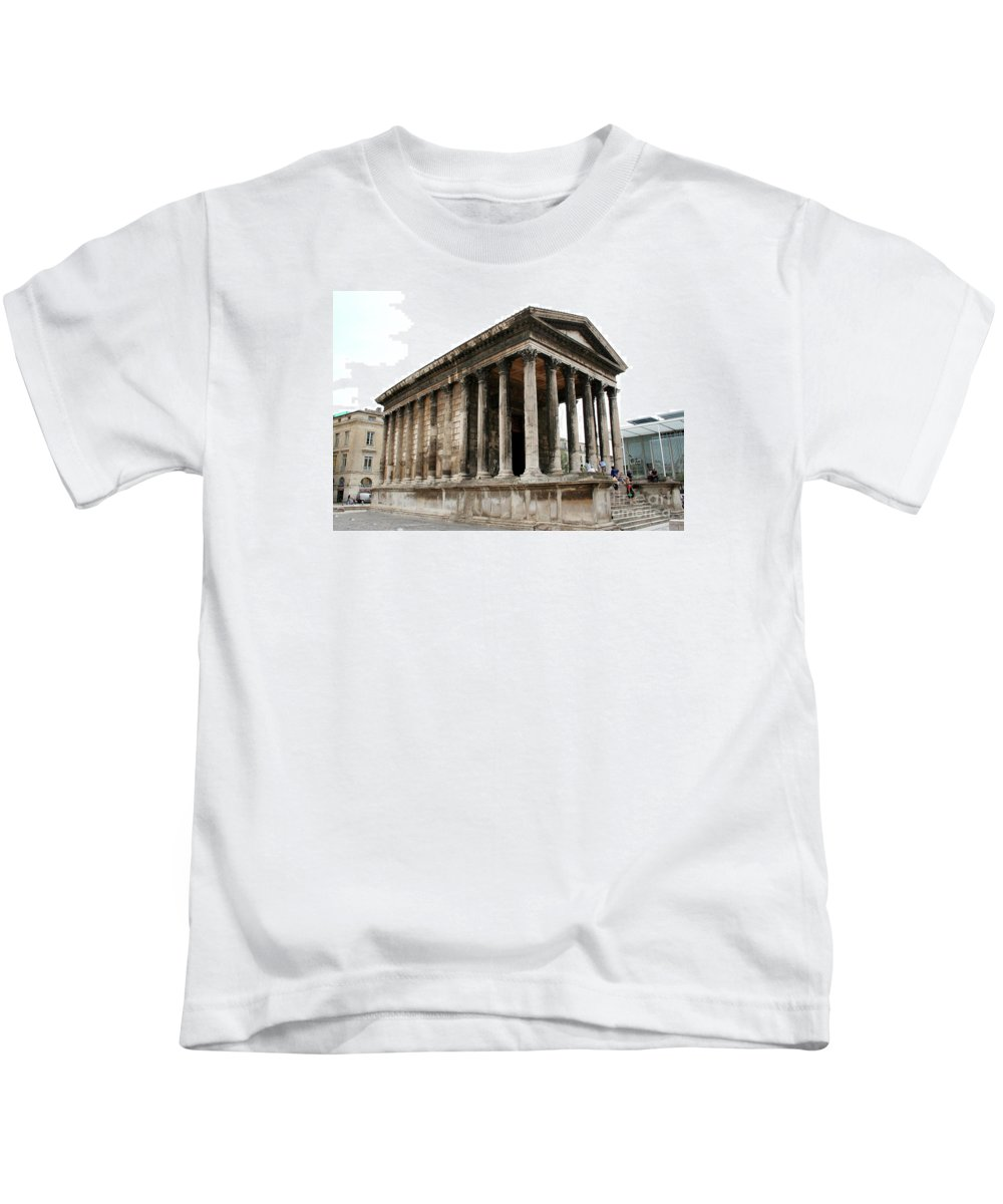 Pantheon Kids T-Shirt featuring the photograph Pantheon Nimes by Christiane Schulze Art And Photography