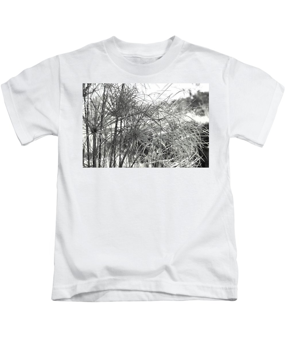 Papyrus Kids T-Shirt featuring the photograph Papyrus Black And White by Sylvia Thornton