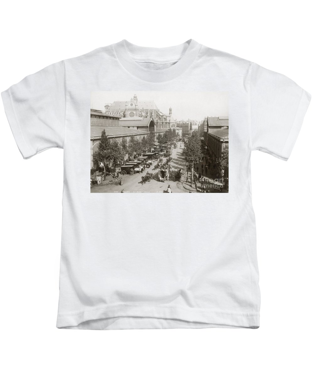1890s Kids T-Shirt featuring the photograph Paris: Les Halles, C1900 by Granger