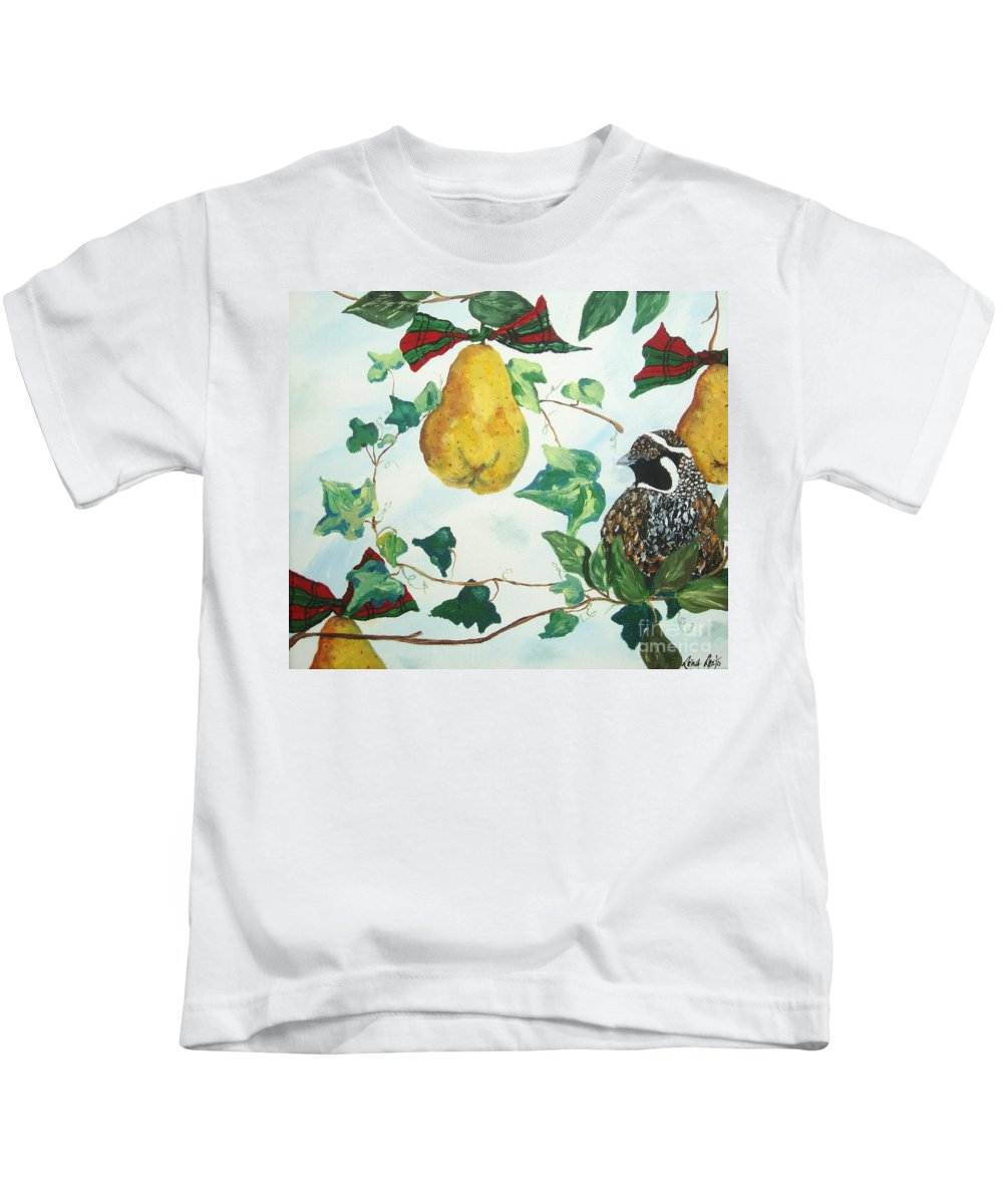 Tree Kids T-Shirt featuring the painting Partridge And Pears by Reina Resto