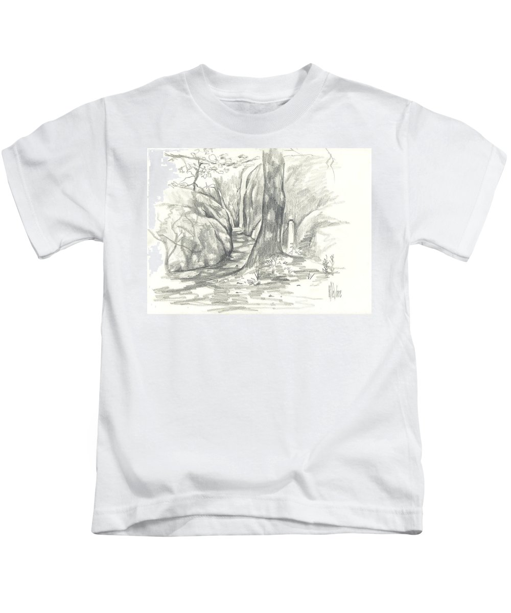 Passageway At Elephant Rocks Kids T-Shirt featuring the drawing Passageway at Elephant Rocks by Kip DeVore