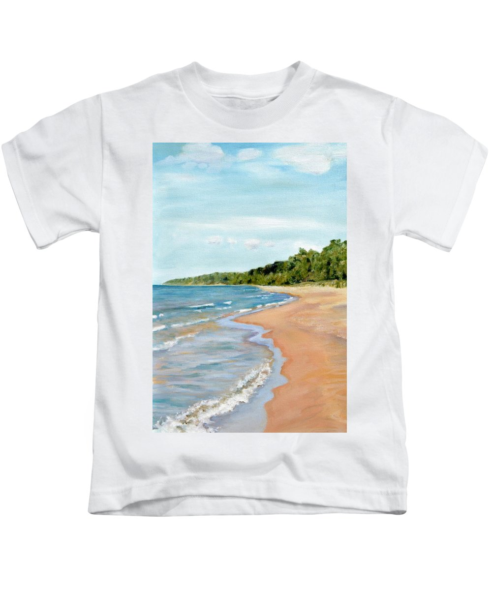 Beach Kids T-Shirt featuring the painting Peaceful Beach At Pier Cove by Michelle Calkins