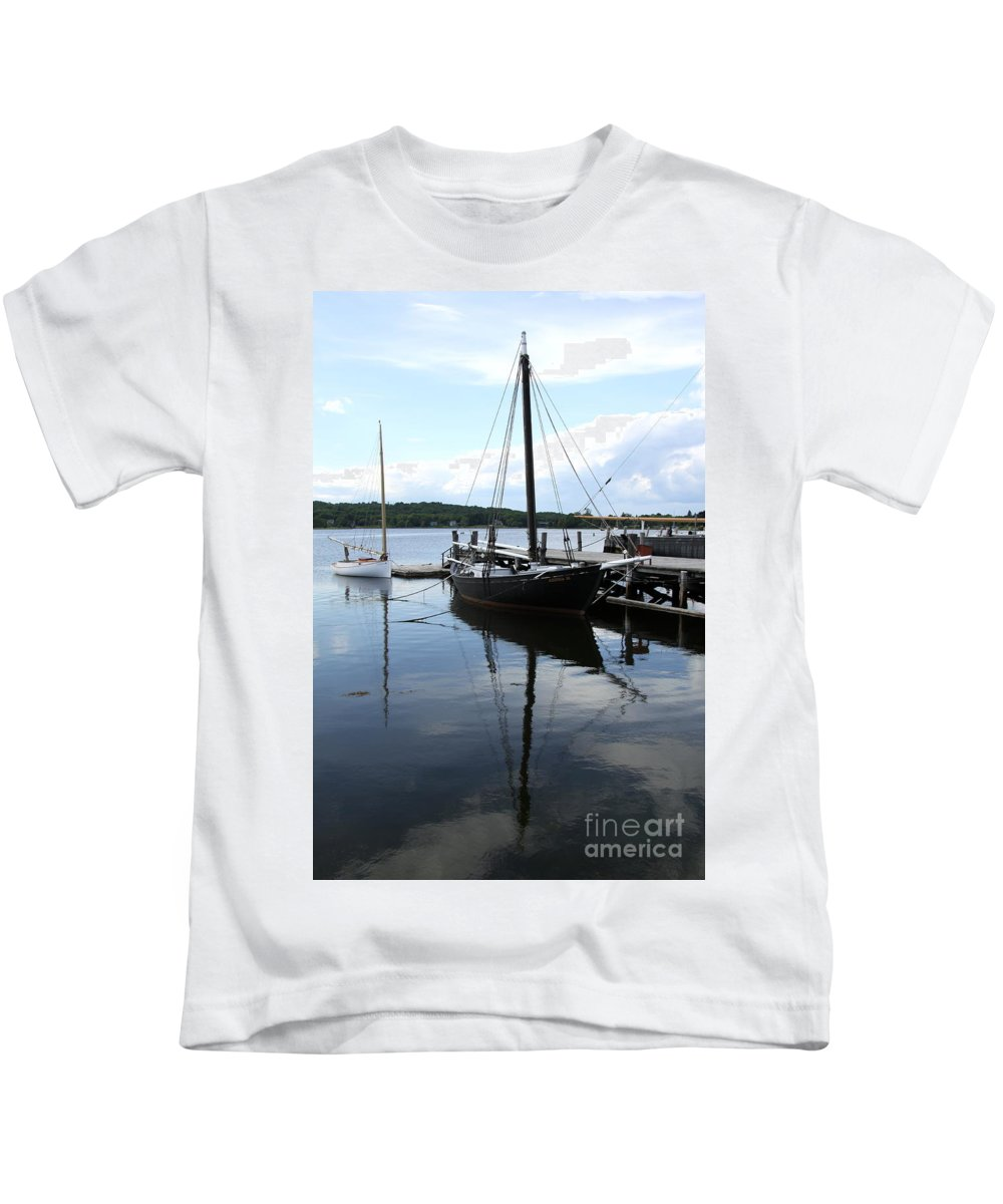 Peaceful Harbor Kids T-Shirt featuring the photograph Peaceful Harbor Scene - Ct by Christiane Schulze Art And Photography