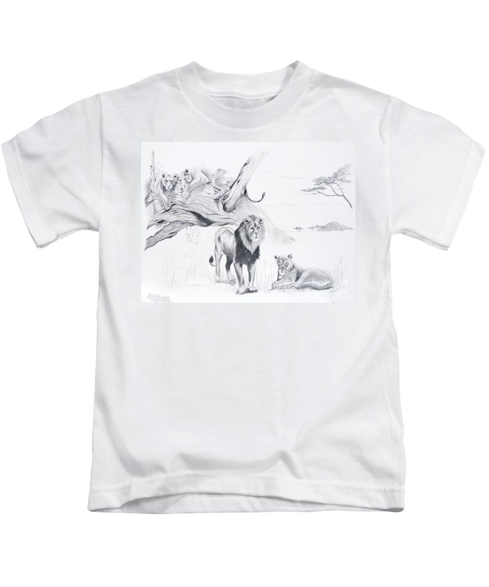 Lion Kids T-Shirt featuring the drawing Peaceful Pride by Joette Snyder
