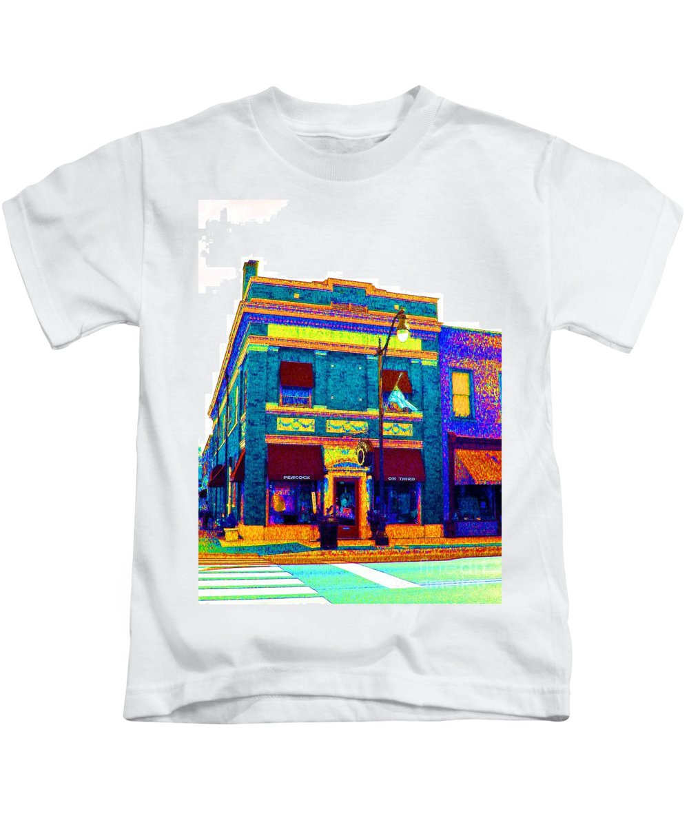 Computer Graphics Kids T-Shirt featuring the photograph Peacock On Third In Teal by Marian Bell