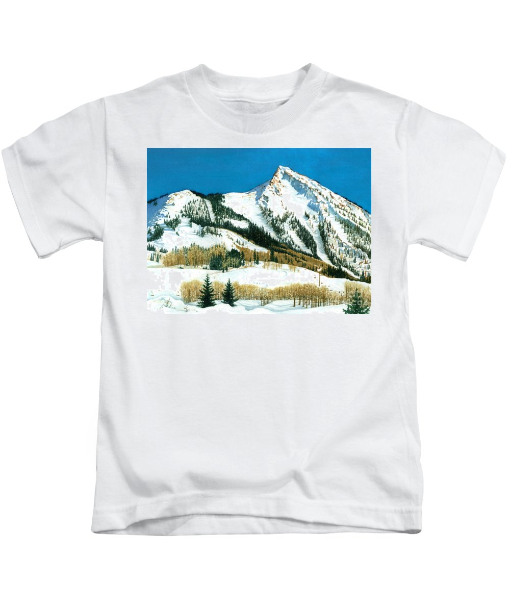 Water Color Paintings Kids T-Shirt featuring the painting Peak Adventure by Barbara Jewell