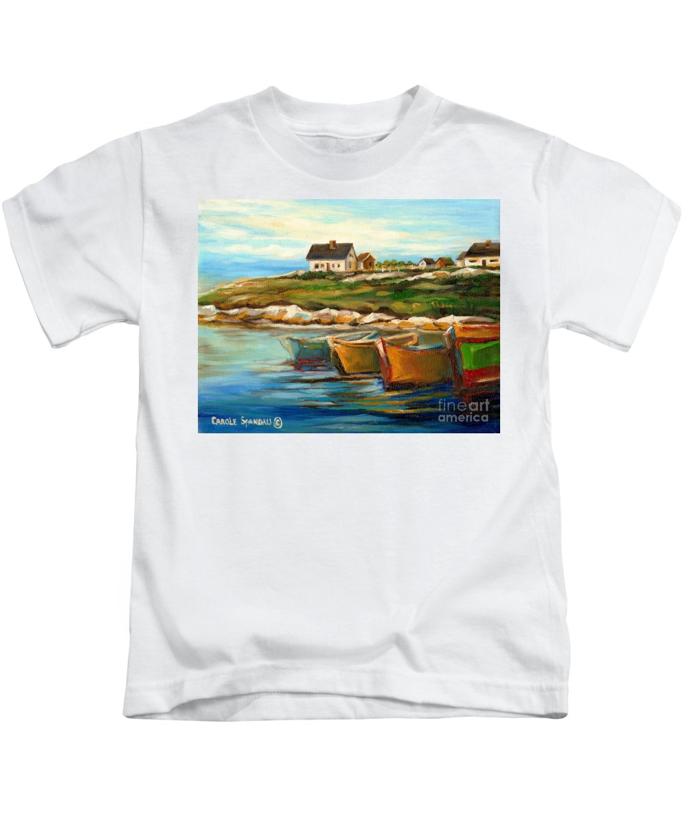 Peggys Cove Kids T-Shirt featuring the painting Peggys Cove With Fishing Boats by Carole Spandau