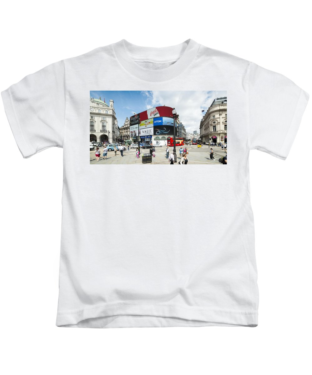 London Kids T-Shirt featuring the photograph Picadilly Circus London by Chevy Fleet