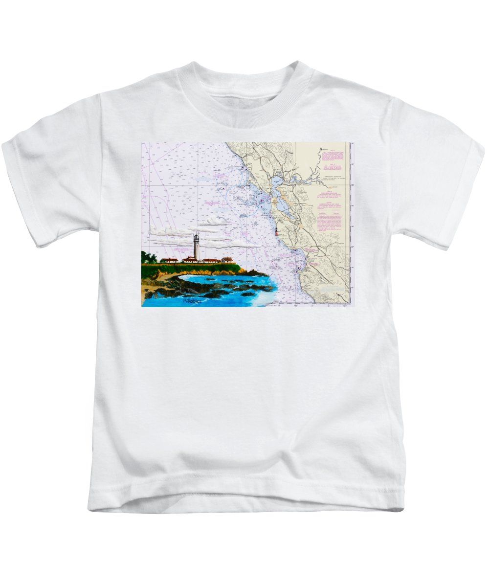 Lighthouse Kids T-Shirt featuring the painting Pigeon Point Lighthouse On Noaa Nautical Chart by Mike Robles