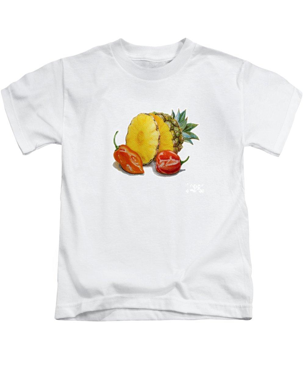 Pineapple And Habanero Peppers Kids T-Shirt featuring the painting Pineapple And Habanero Peppers by Irina Sztukowski