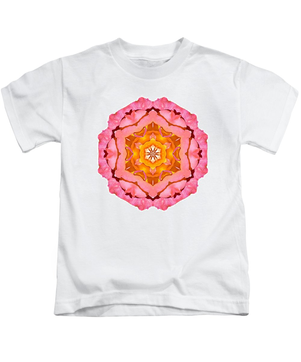 Flower Kids T-Shirt featuring the photograph Pink And Orange Rose I Flower Mandala White by David J Bookbinder