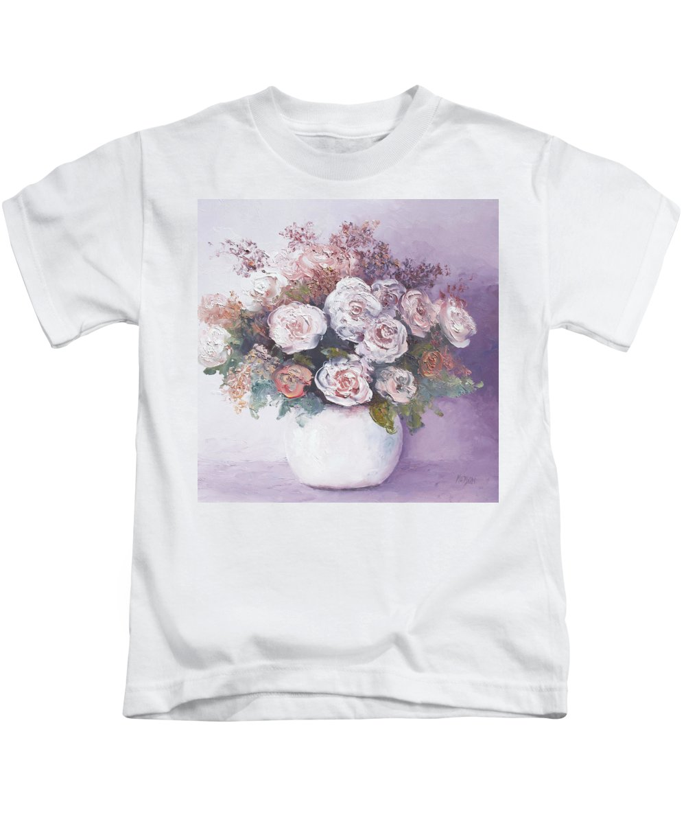 Roses Kids T-Shirt featuring the painting Pink And White Roses by Jan Matson