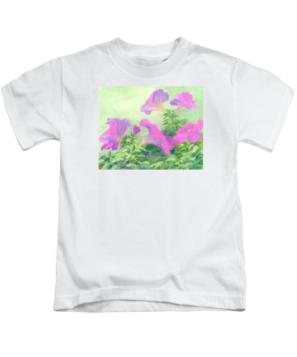 Colorful Garden Flowers Kids T-Shirt featuring the painting Pink Petunias Beautiful Flowers Art Colorful Original Garden Floral Flower Artist K. Joann Russell by K Joann Russell