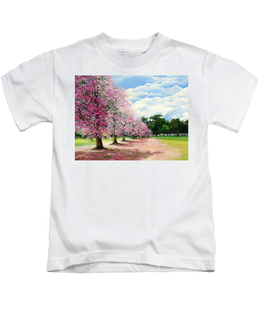 Pink Poui Trees Kids T-Shirt featuring the painting Pink Savannah Poui by Karin Dawn Kelshall- Best