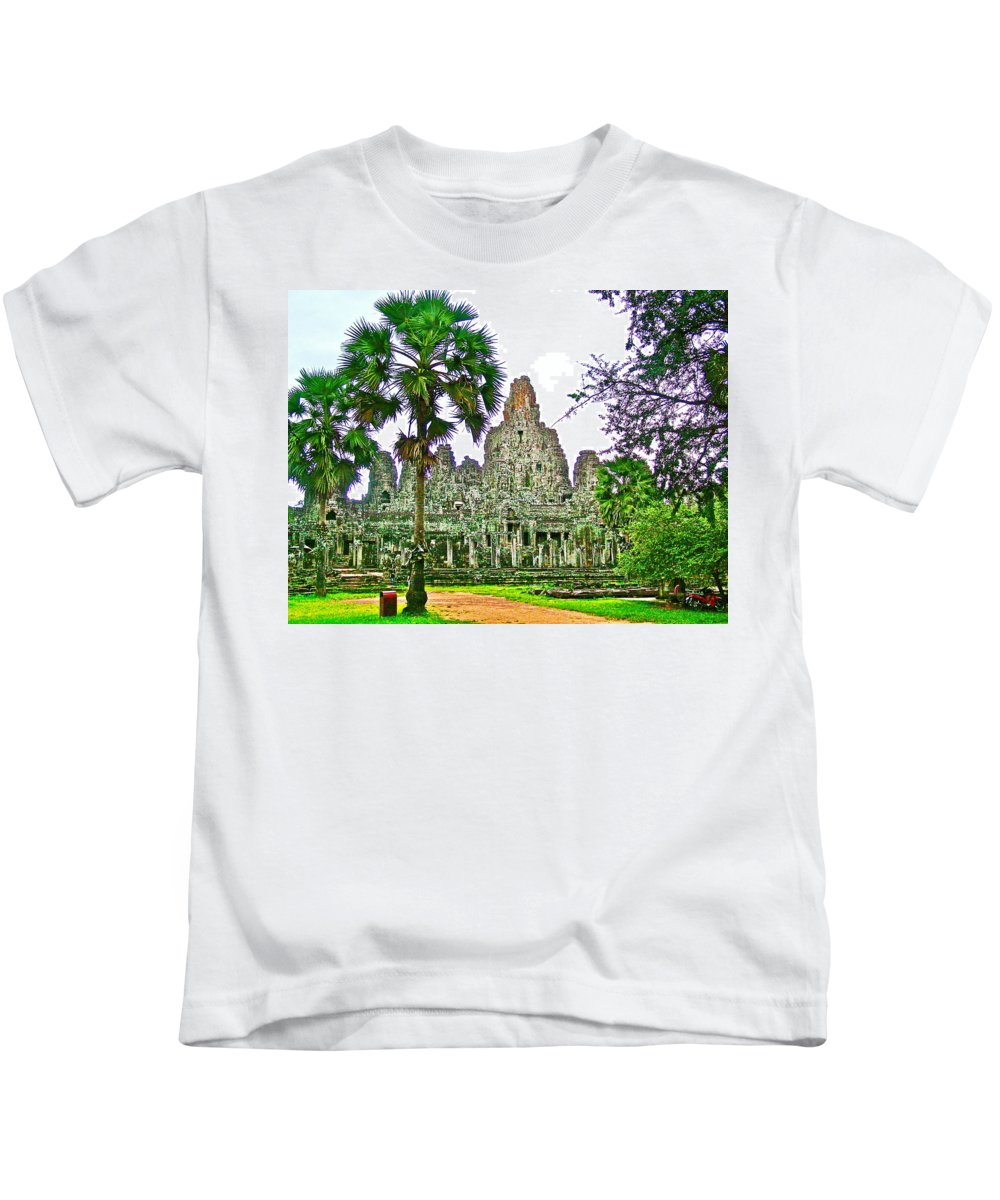 Pink Tower In The Bayon In Angkor Thom In Angkor Wat Archeological Park Near Siem Reap Kids T-Shirt featuring the photograph Pink Tower In The Bayon In Angkor Thom In Angkor Wat Archeological Park Near Siem Reap-cambodia by Ruth Hager