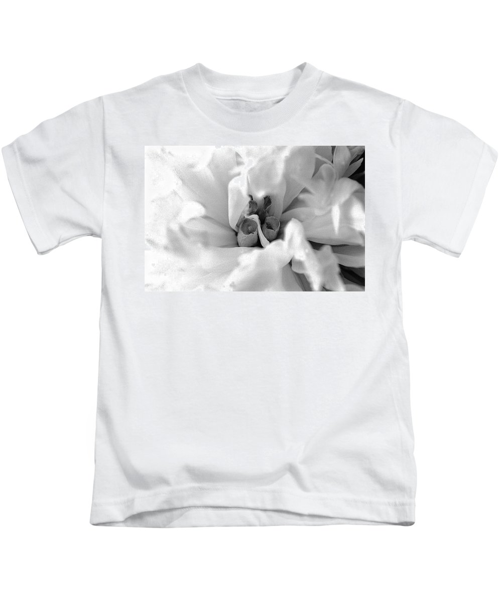 Piony Kids T-Shirt featuring the photograph Piony Black White by Steve Archbold