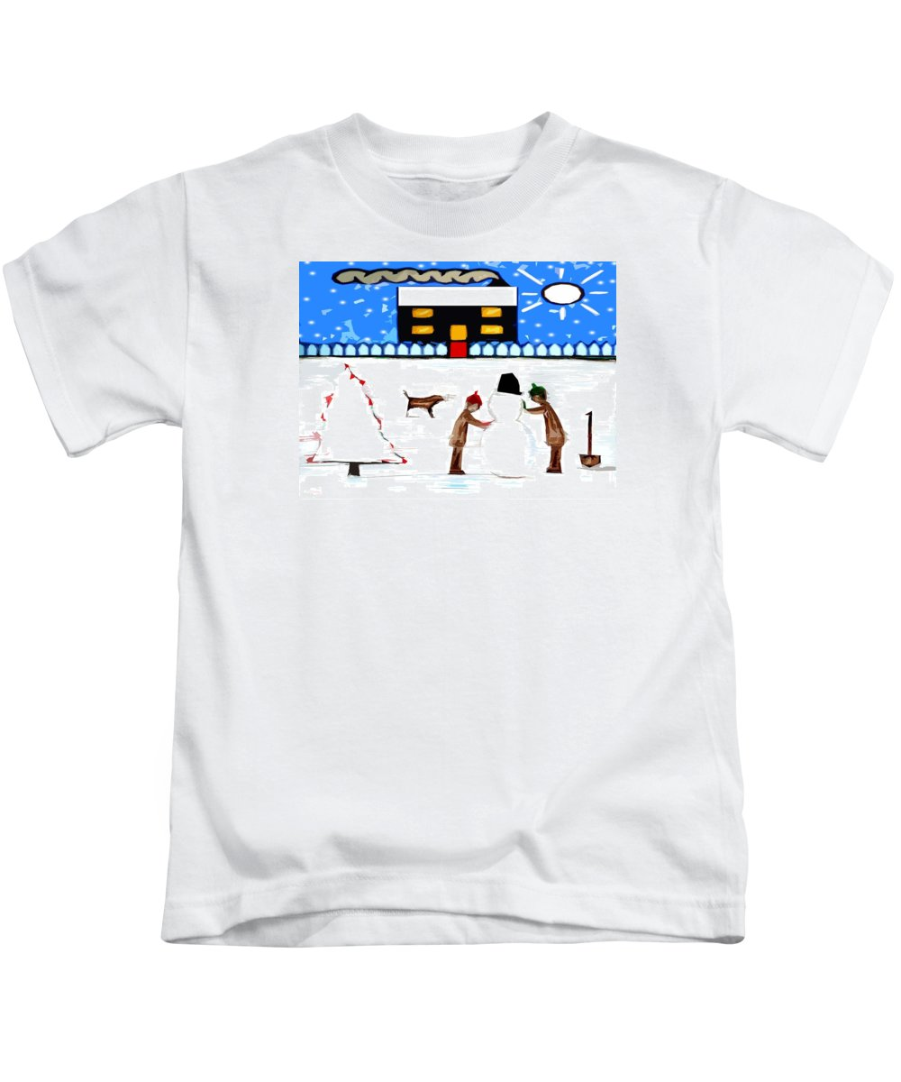 Animals Kids T-Shirt featuring the painting Playing In The Snow by Patrick J Murphy