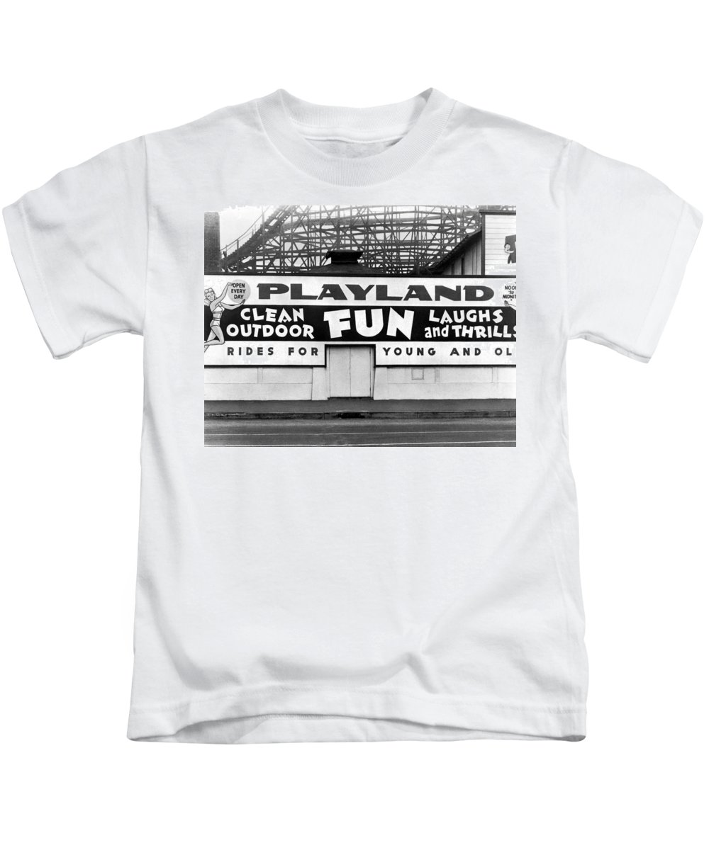 1940's Kids T-Shirt featuring the photograph Playland At The Beach by Underwood Archives