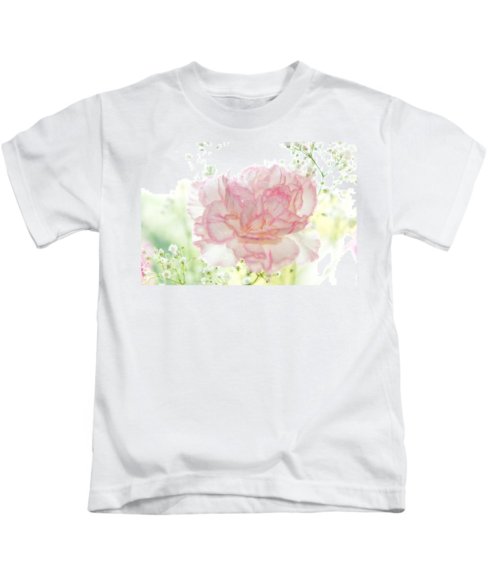 Carnation Kids T-Shirt featuring the photograph Plenty Of Joy And Sun. Natural Watercolor. Touch Of Japanese Style by Jenny Rainbow