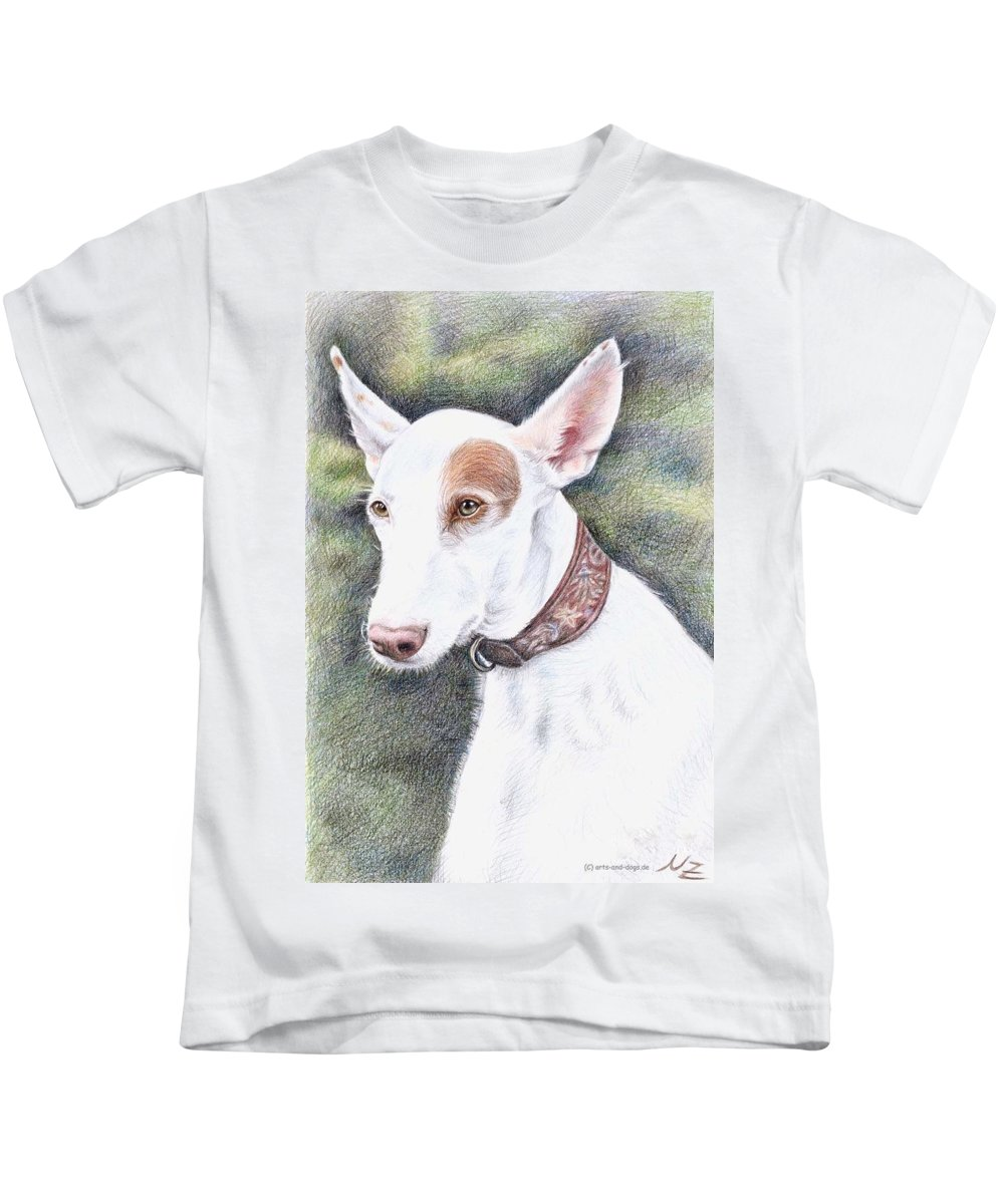 Dog Kids T-Shirt featuring the drawing Podenco Ibicenco by Nicole Zeug