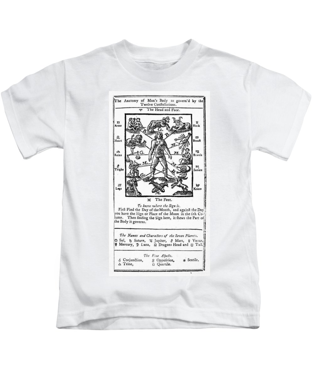 1757 Kids T-Shirt featuring the photograph Poor Richards Almanack by Granger