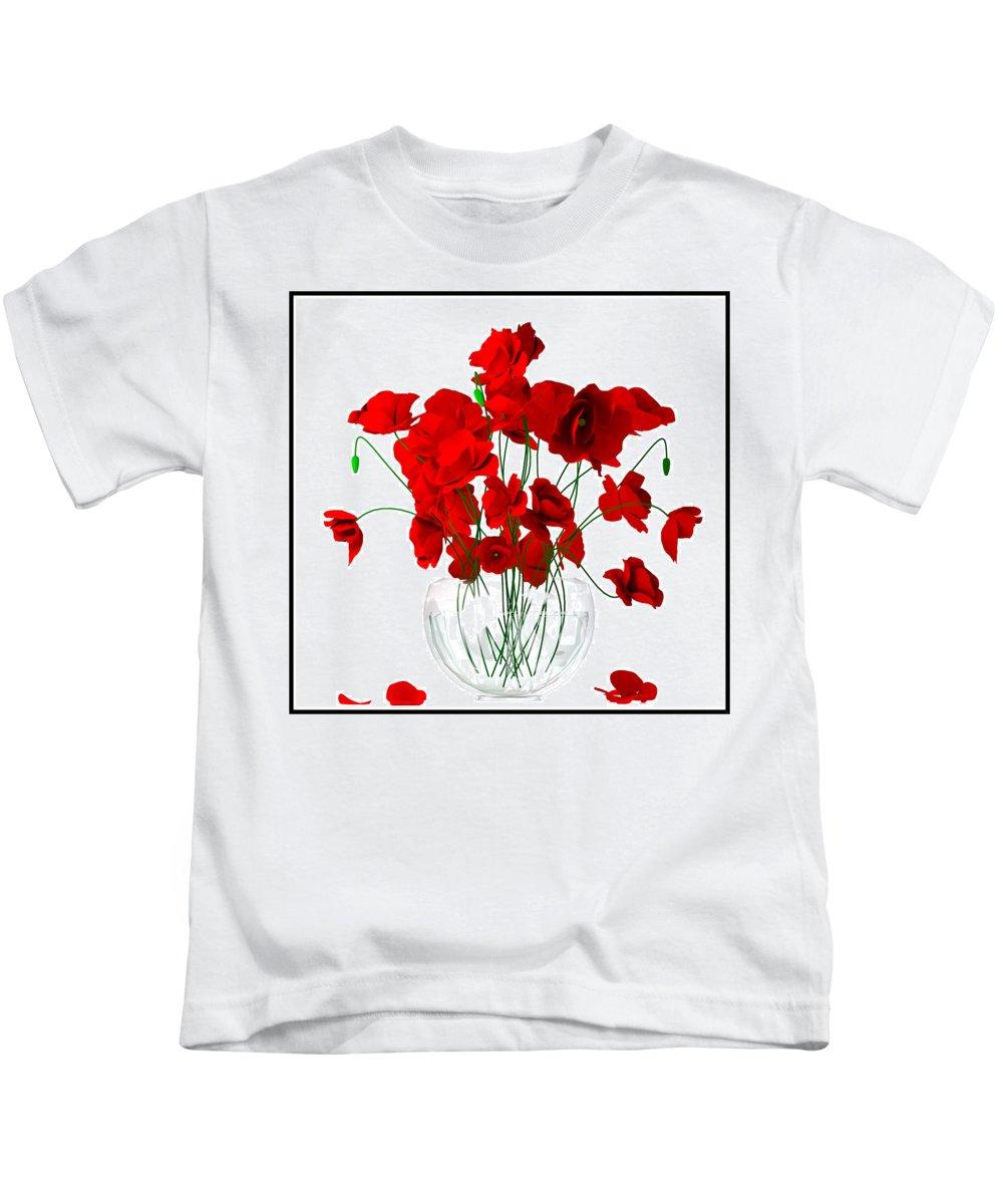 Flowers Kids T-Shirt featuring the digital art Poppies by Tim Fillingim