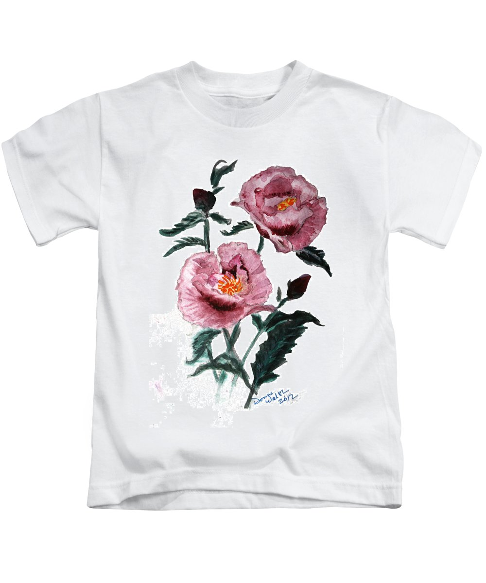 Poppy Kids T-Shirt featuring the painting Poppy by Donna Walsh
