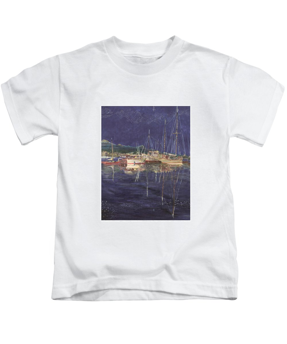 I Just Ordered A Shower Curtain For Myself With This Image On It Kids T-Shirt featuring the painting Stary Port Orchard Night by Jack Pumphrey