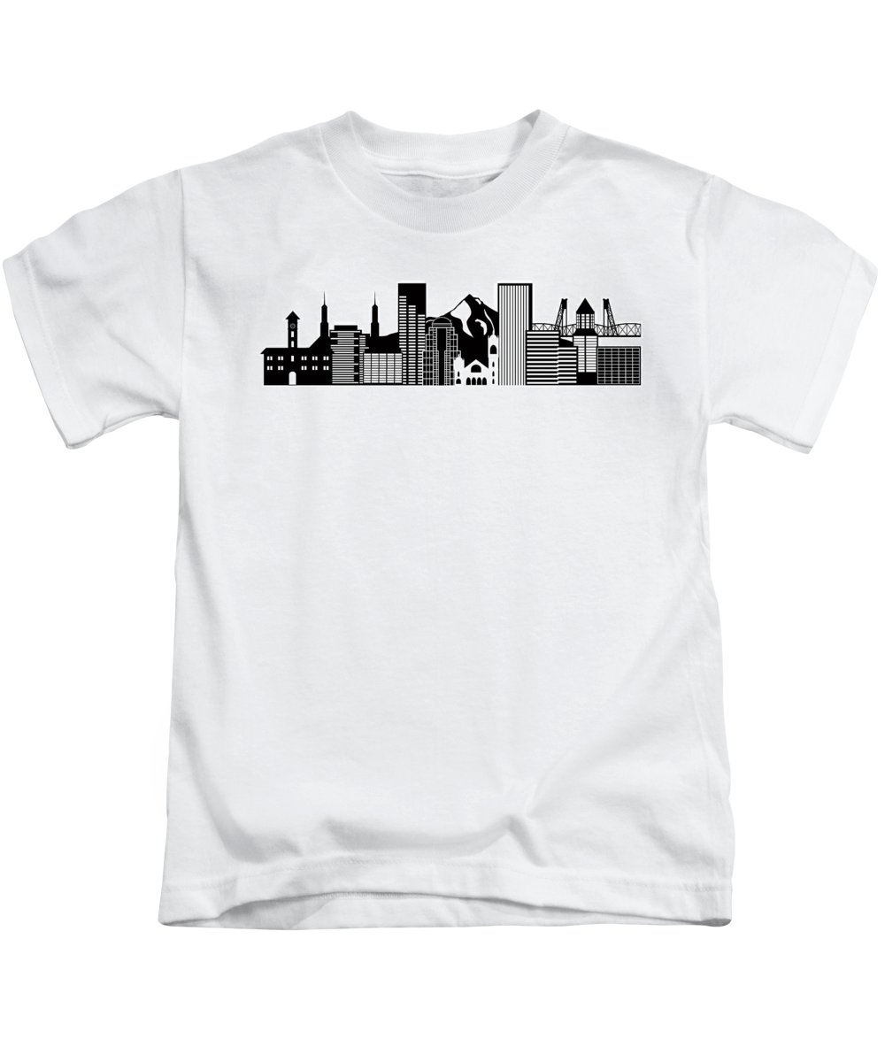 Portland Kids T-Shirt featuring the photograph Portland Oregon Skyline Black And White Illustration by Jit Lim