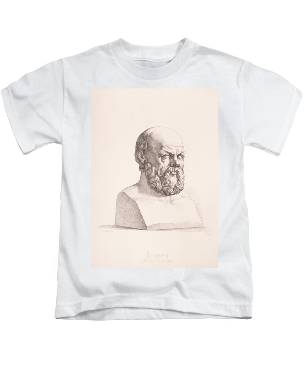 Male Kids T-Shirt featuring the drawing Portrait Of Socrates by CC Perkins