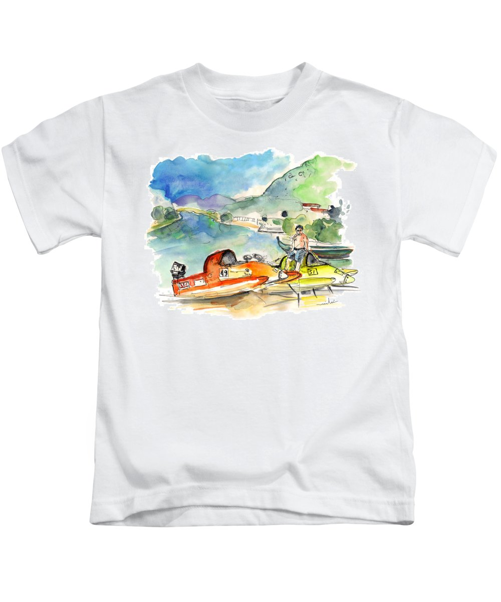 Europe Kids T-Shirt featuring the painting Power Boats World Championship In Barca De Alva 04 by Miki De Goodaboom