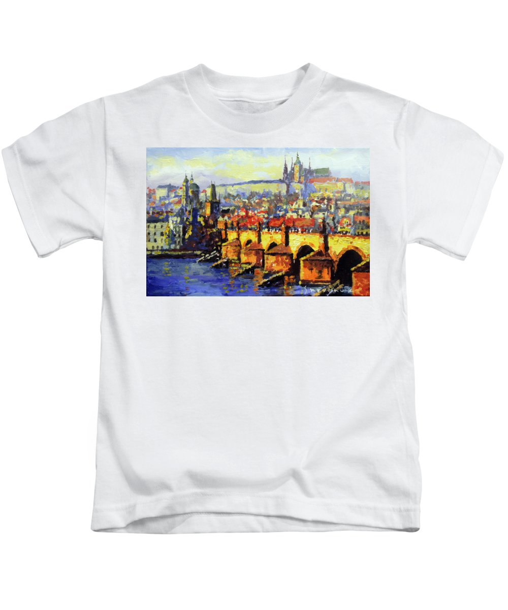 Acrilic Kids T-Shirt featuring the painting Prague Panorama Charles Bridge by Yuriy Shevchuk