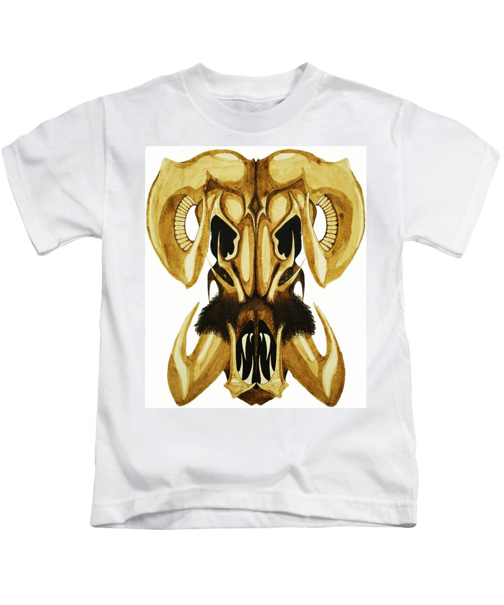 Ram Kids T-Shirt featuring the drawing Prehistoric Ram by Daniel P Cronin