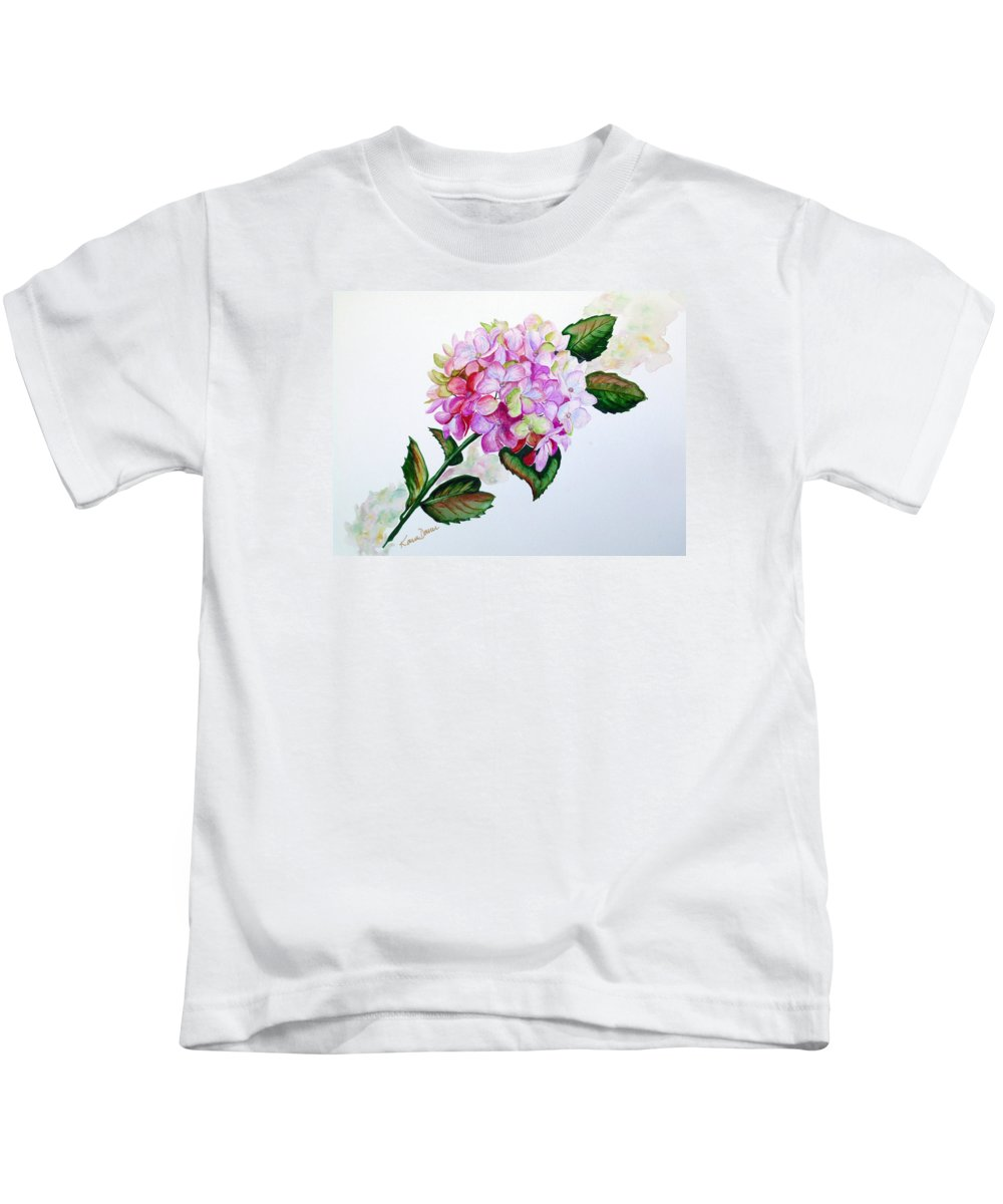 Hydrangea Painting Floral Painting Flower Pink Hydrangea Painting Botanical Painting Flower Painting Botanical Painting Greeting Card Painting Painting Kids T-Shirt featuring the painting Pretty In Pink by Karin Dawn Kelshall- Best