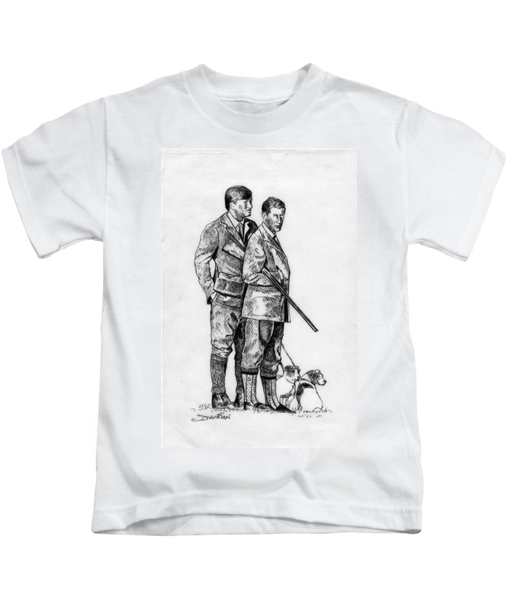 Kids T-Shirt featuring the drawing Prince Charles Hunting by Jude Darrien