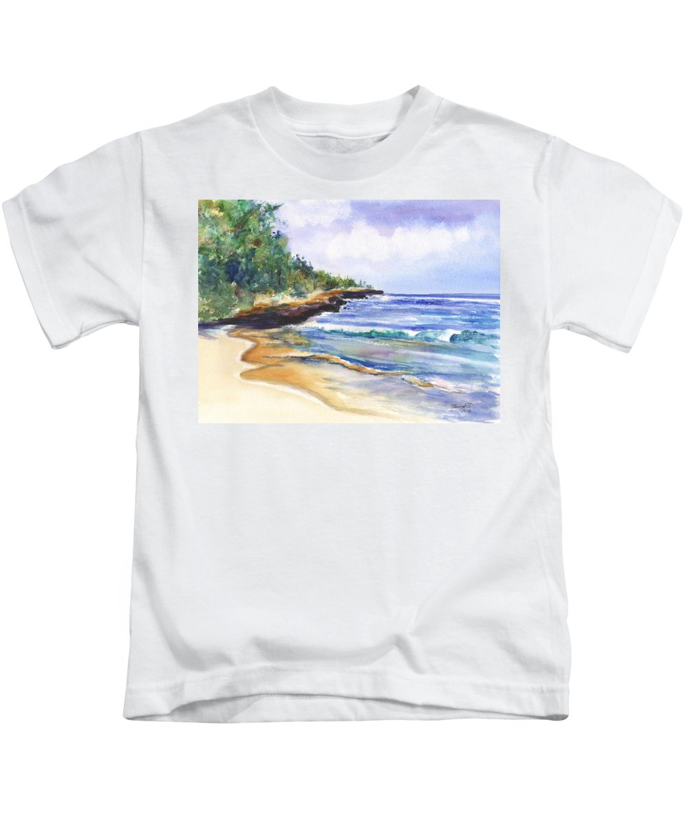 Watercolor Seascape Kids T-Shirt featuring the painting Pristine Mahaulepu Beach by Marionette Taboniar