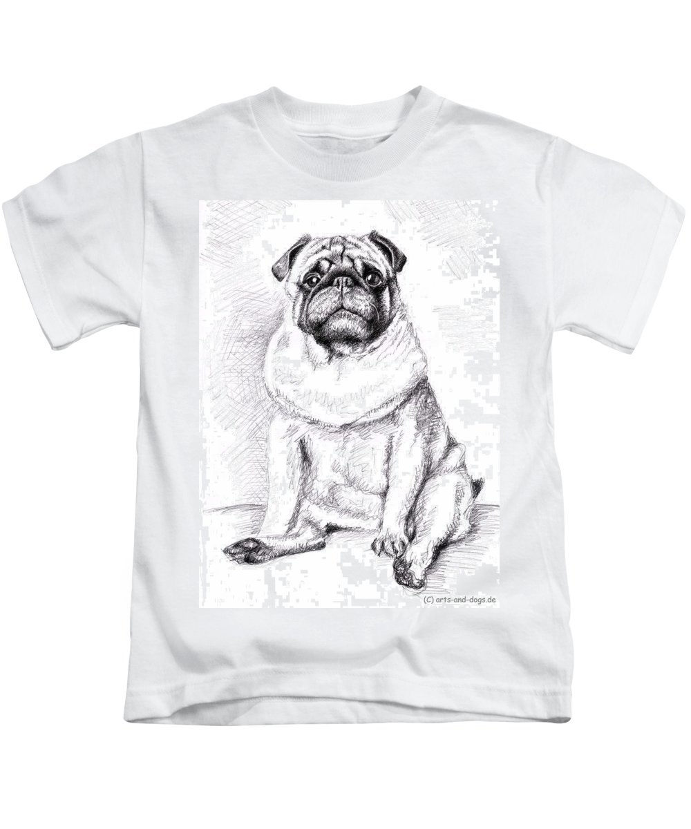 Dog Kids T-Shirt featuring the drawing Pug Anton by Nicole Zeug
