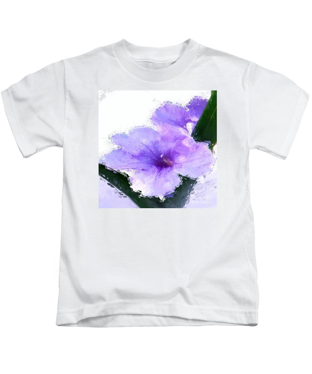 Anthony Fishburne Kids T-Shirt featuring the digital art Purple Petunia by Anthony Fishburne
