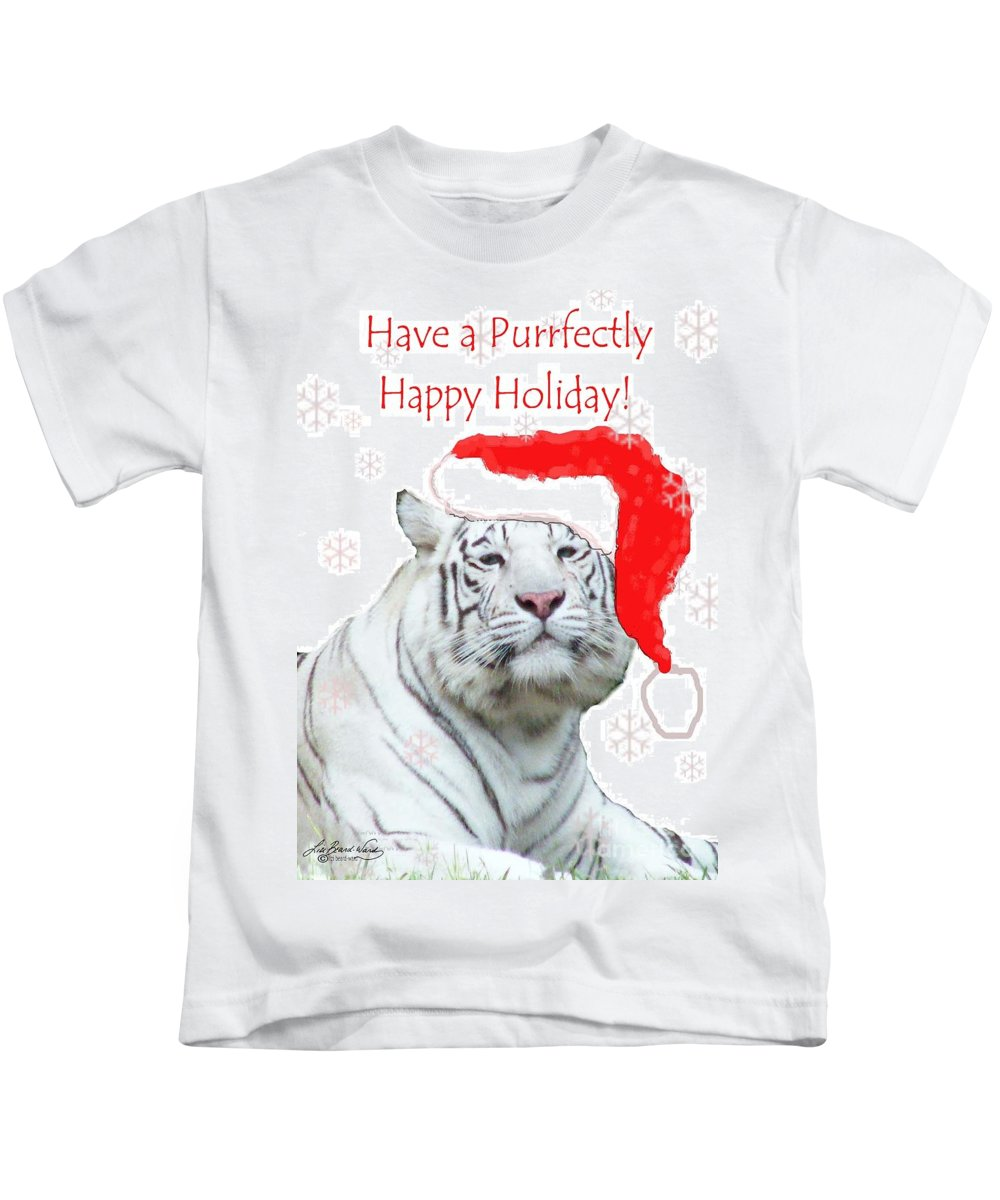 Tiger Kids T-Shirt featuring the mixed media Purrfect Holiday by Lizi Beard-Ward